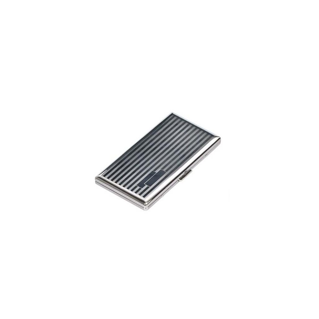 Slim Lady cigarette case silver plate - lines & bands