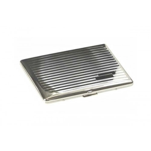 Cigarette case silver plate - lines & bands