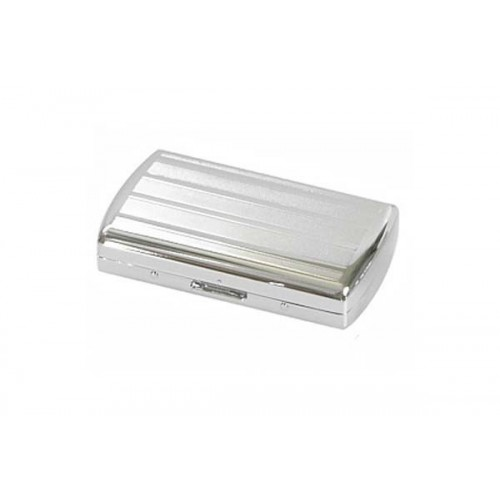 "Cigarette case ""soap"" chrome plated - lines and bands"