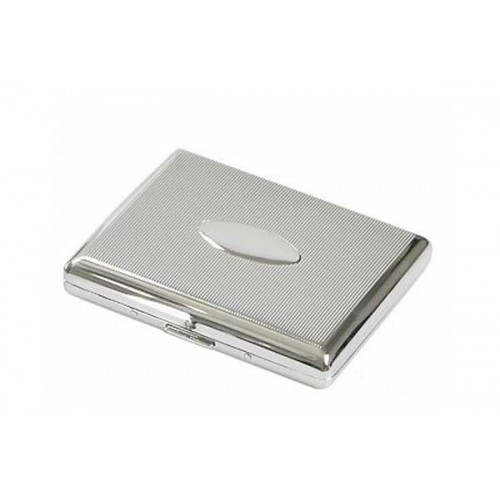 Double cigarette case chrome plated - lines and oval panel