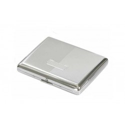 Double cigarette case chrome plated - diagonal lines