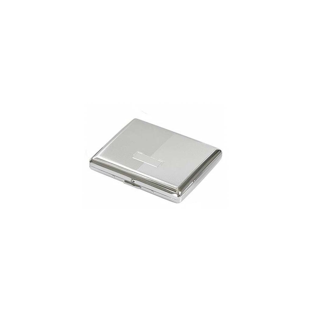 Double cigarette case chrome plated - diagonal lines
