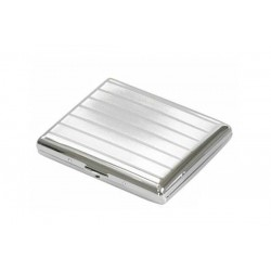 Double cigarette case chrome plated - lines and bands
