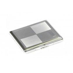Cigarette case 1 row chrome plated - chess engraving