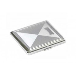 Cigarette case 1 row chrome plated - rhombus engraving