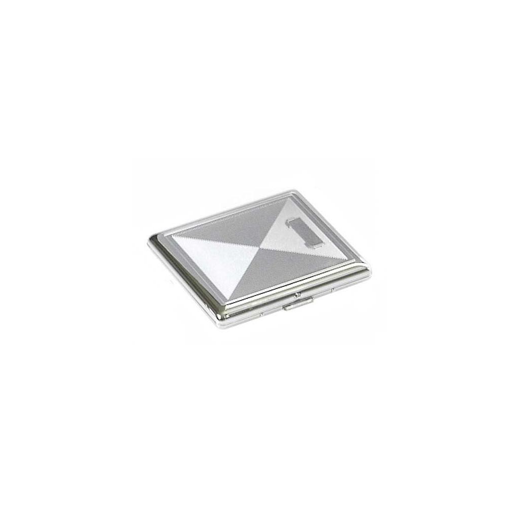 Cigarette case 1 row chrome plated - rhombus engraving