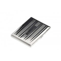 Cigarette case 100s chrome plated - lines & bands