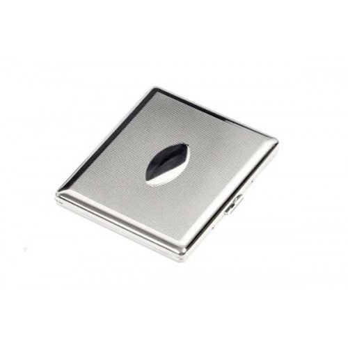 Cigarette case 100s chrome plated - orizzontal lines & oval