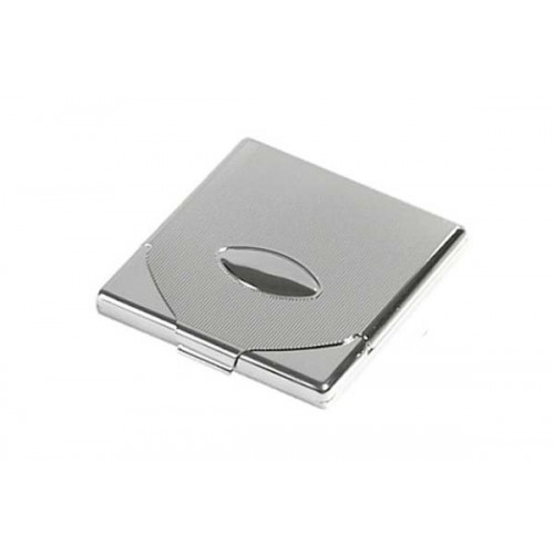 1 row cigarette case chrome engraved with flap - lines & oval