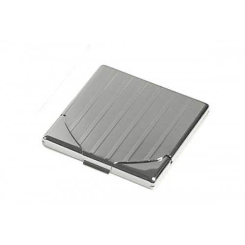 1 row cigarette case chrome engraved with flap - lines & bands