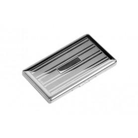 Portasigarette slim cromato con specchio - linee e riquadro