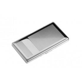 Portasigarette slim cromato con specchio - linee e bande