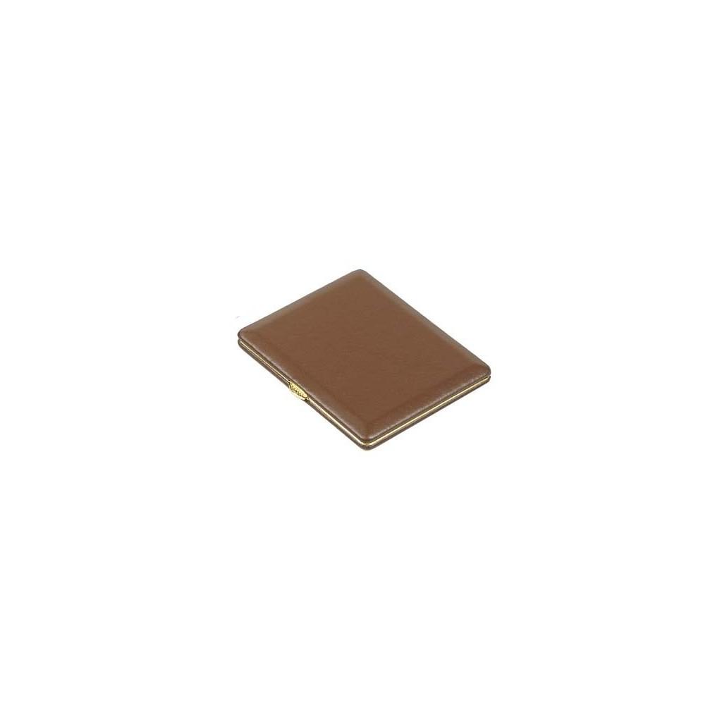Cigarette-cigarillos case brown leather - gold farm