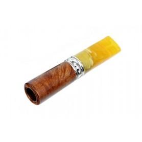 Bocchino per sigaro toscano in radice e metacrilato ambra con filtro 9mm