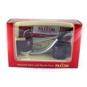 Pipa Falcon pacco regalo base cromata curva con 2 teste
