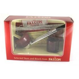 Pipa Falcon pacco regalo base cromata dritta con 2 teste