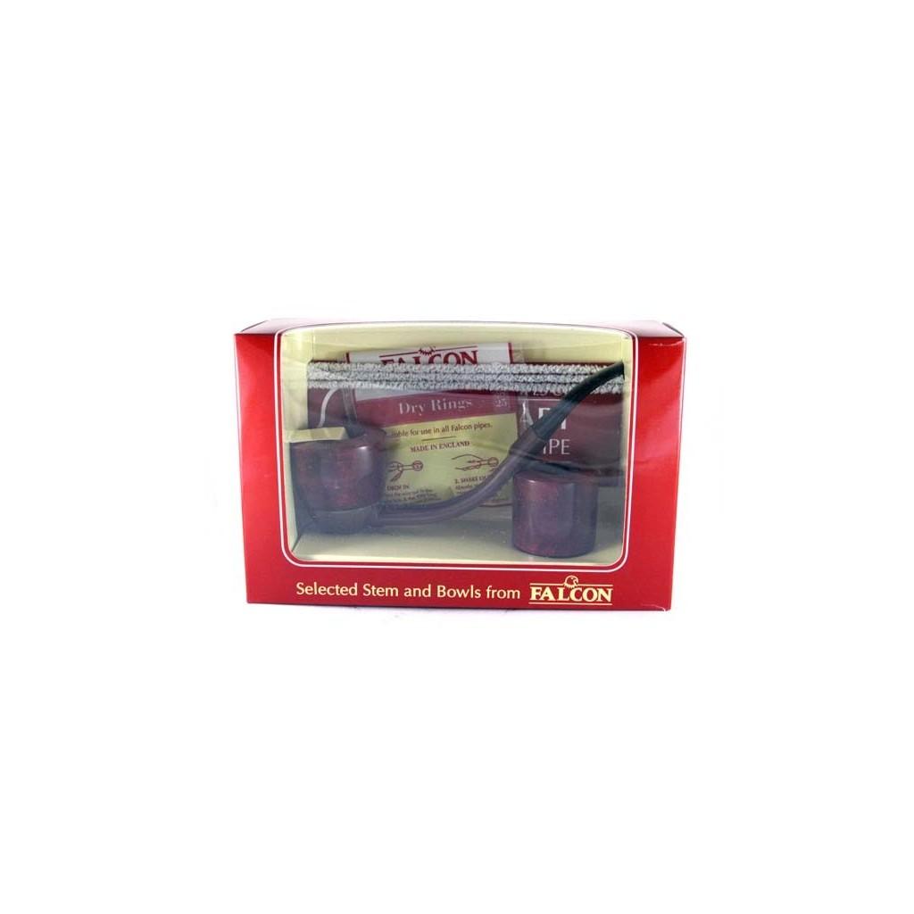 Pipa Falcon pacco regalo base marrone curva con 2 teste