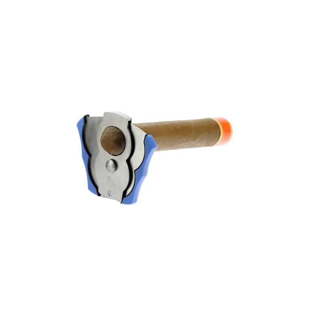 "Satin steel and blue ""Ventaglio"" cigar cutter"