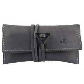 Leather tobacco pouch Mava - Grey