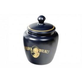 Vaso porta tabacco S.Holmes bombato piccolo in ceramica - Blu
