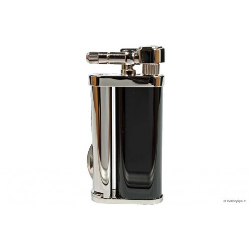 """Tsubota Pearl """"Bolbo"""" pipe lighter with pipe tools - Black & Chrome"""