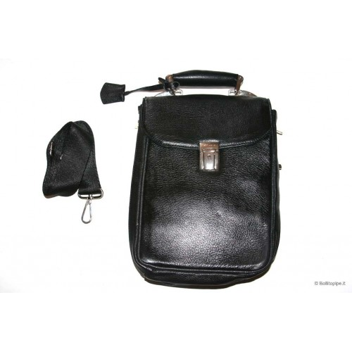 Anvolo leather pouch for 7-14 pipes, tobacco and accessories - Black