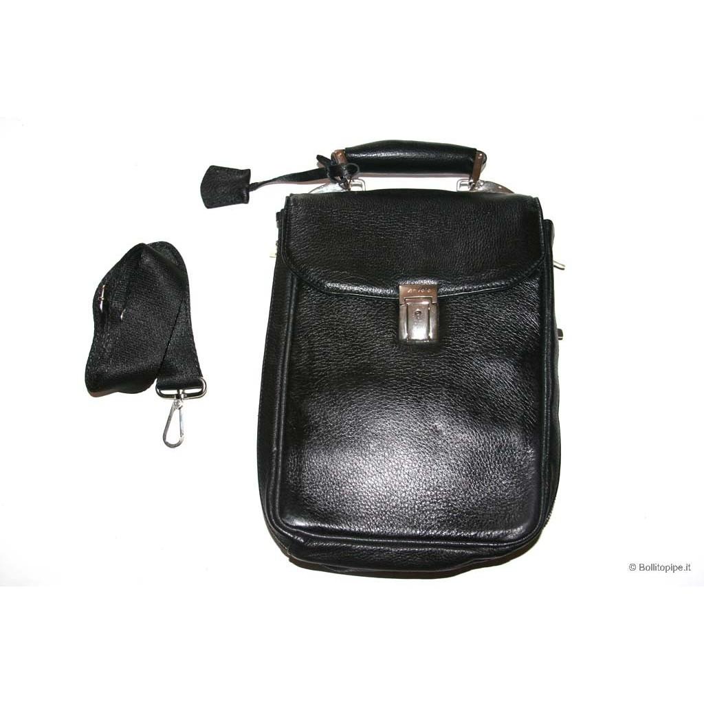 Bolsa Anvolo en piel para 7-14 pipas, tabaco y accessorios - Negro