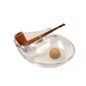 Cenicero por pipa con reposa pipas en vidrio