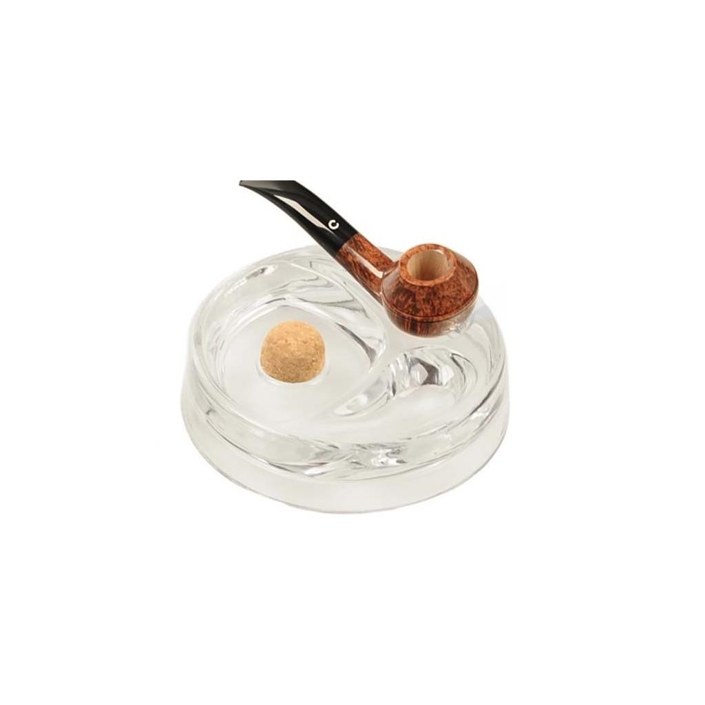 Posacenere battipipa in vetro trasparente con poggiapipe