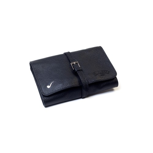 Leather pouch for 4 pipes and accessories - Black