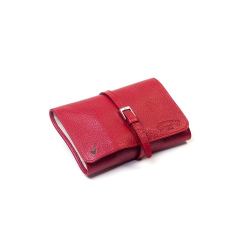 Leather pouch for 4 pipes and accessories - Red