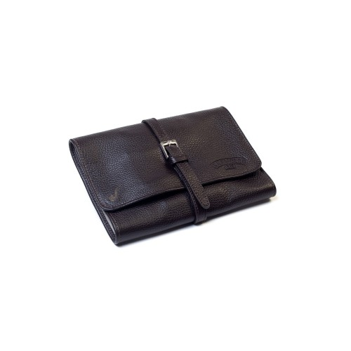 Leather pouch for 4 pipes and accessories - Brown