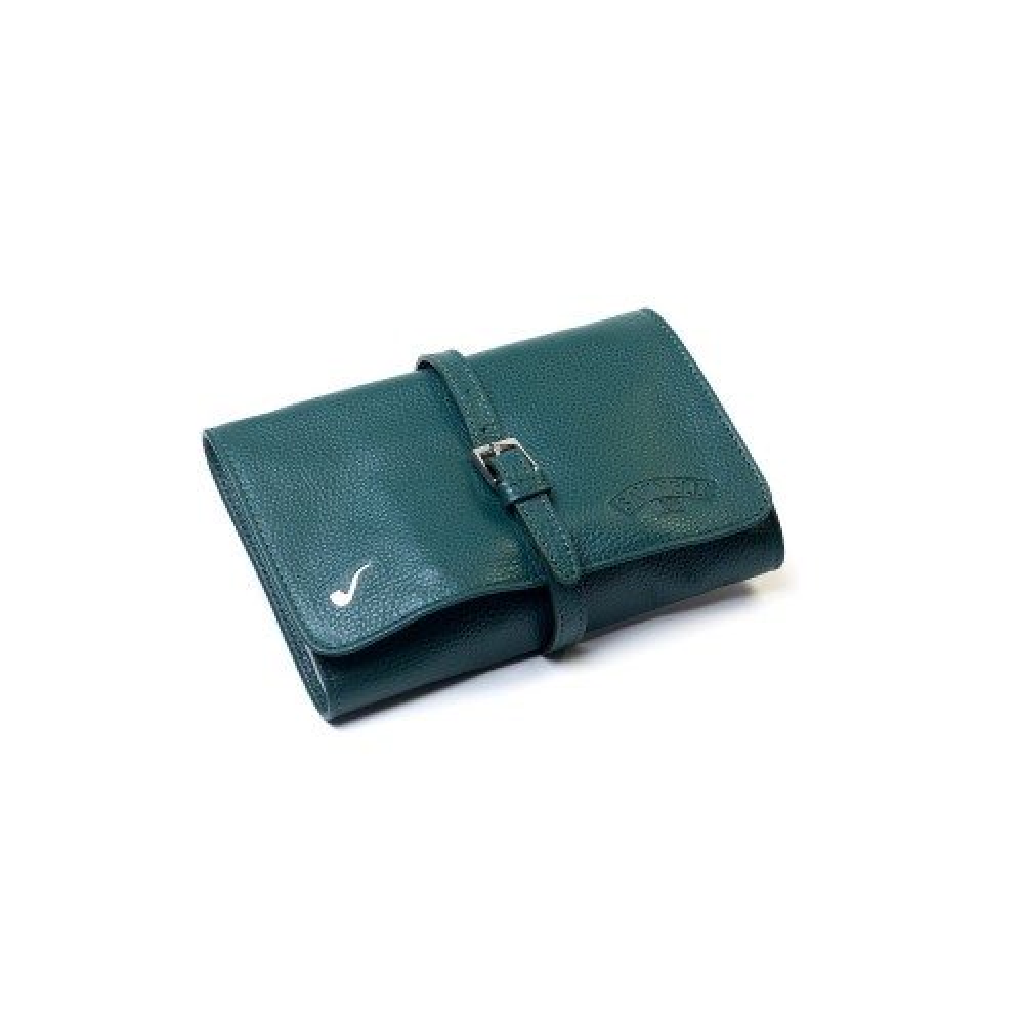 Borsa in pelle per 4 pipe e accessori - Verde