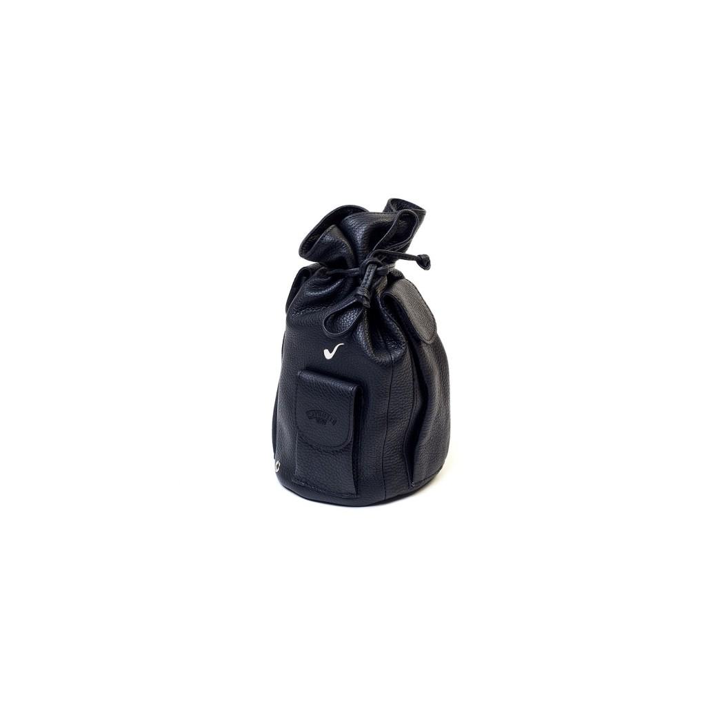 Sac Savinelli pour 4 pipes et accesoires en cuir - Noir