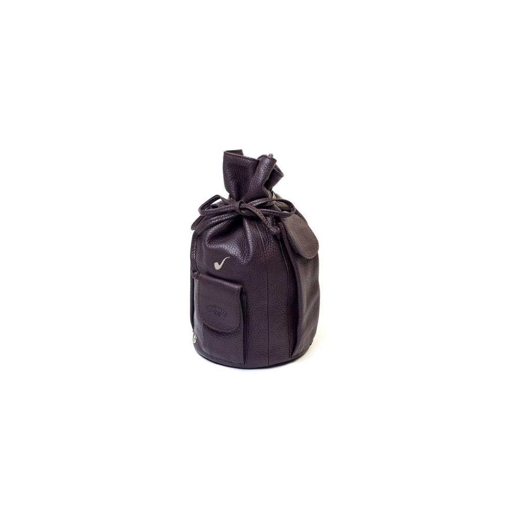Sacchetto in pelle per 4 pipe e accessori - Marrone