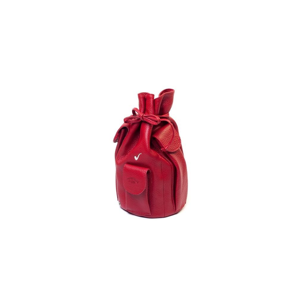 Sacchetto in pelle per 4 pipe e accessori - Rosso