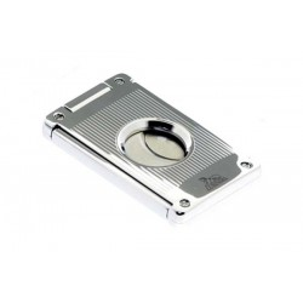 Cigar cutter 2 blades silver plate - vertical lines