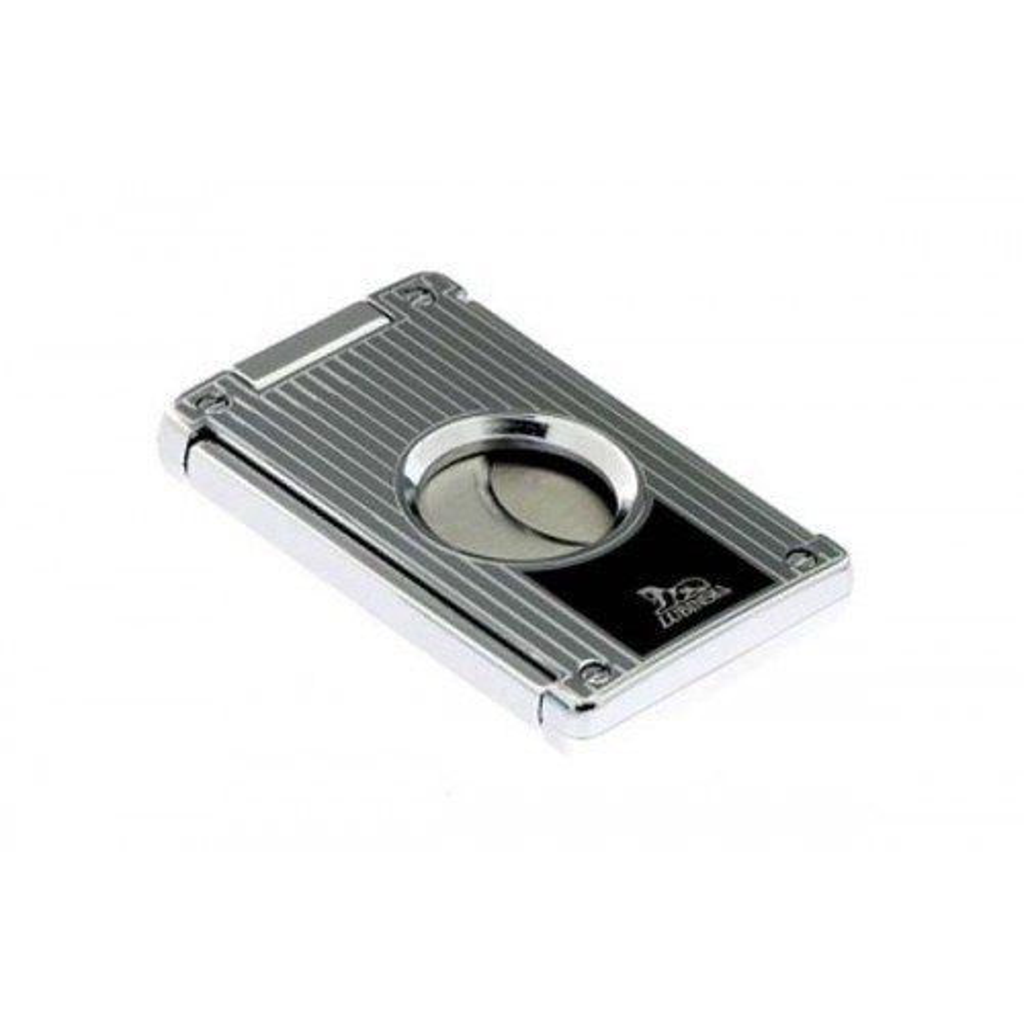 Cigar cutter 2 blades silver plate - vertical lines & black laque