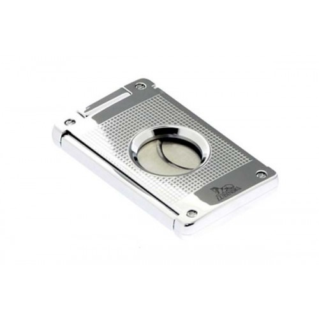 Cigar cutter 2 blades silver plate - chess