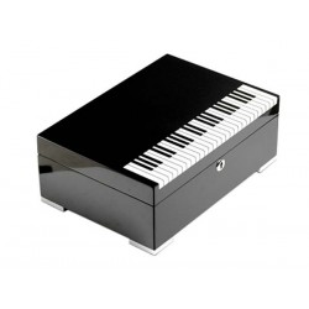 """Humidor """"Piano"""" in lacca nera con serratura e igrometro digitale"""