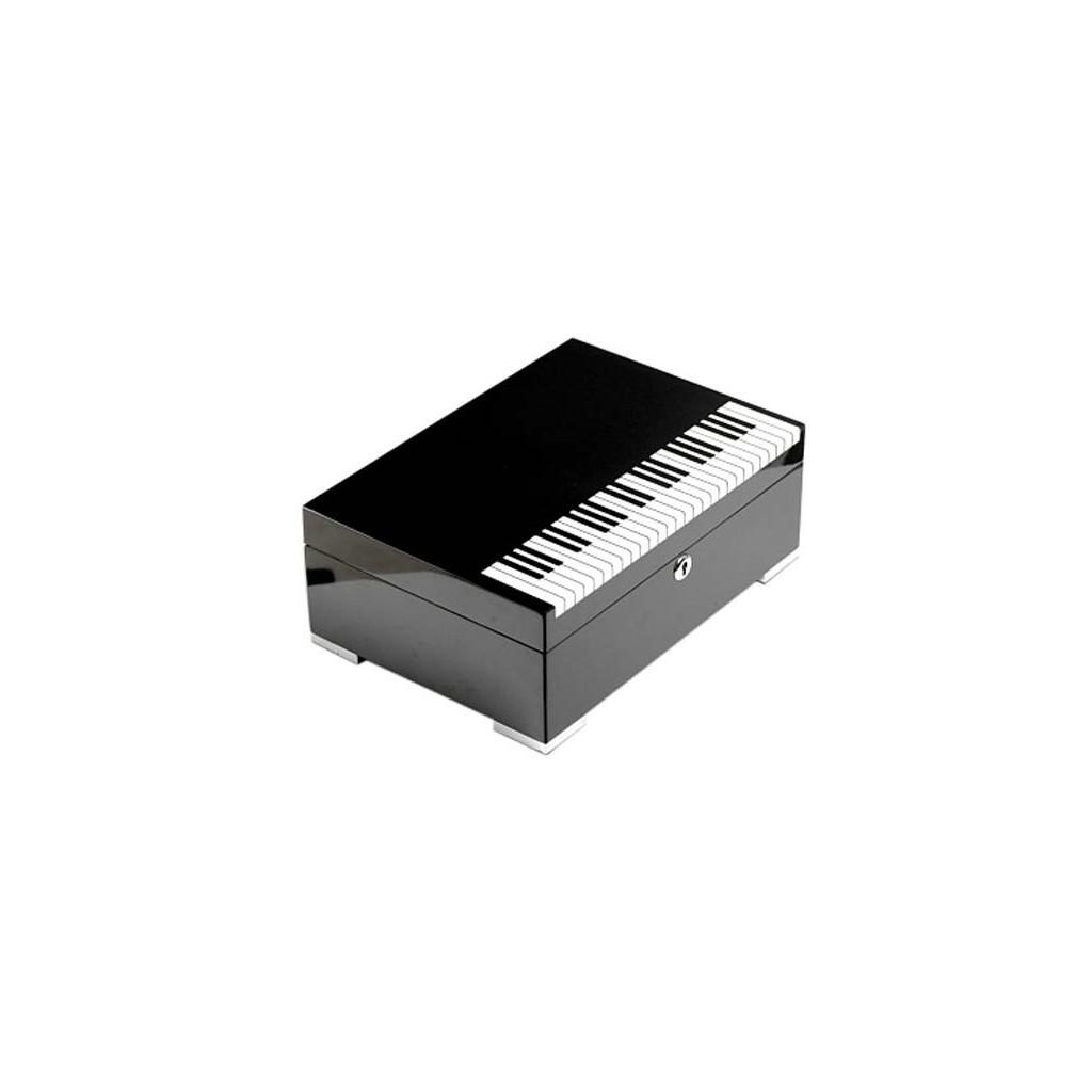 """Cave à cigares """"Piano"""" laque noire avec serrure et hygromètre numérique"""