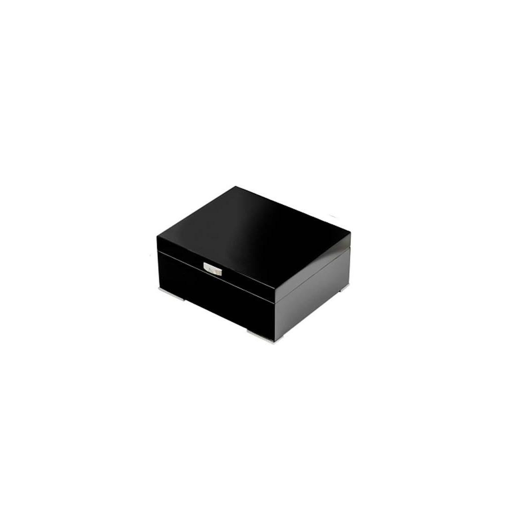 Humidor en laca negra con higrómetro digital