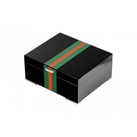 Humidor laca negra con faja verde roja y prensatelas - higrómetro digital