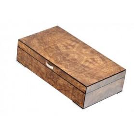 Humidor en brezo de olmo opaco con bandeja, prensatelas e higrómetro digital
