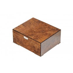 Humidor elm briar polished with metal feet and digital higro
