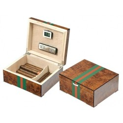 Green strap humidor elm briar polished with digital higro