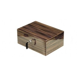 Humidor in zebrano with lock and digital higro