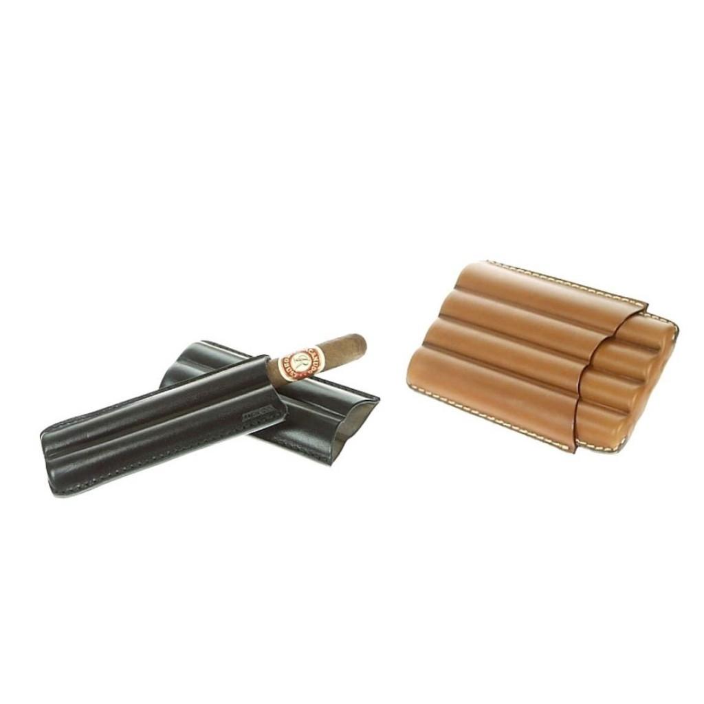 Leather cigar case for 2-4 Petit Corona cigars