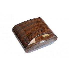 Cave à cigares ovale de bois de fer poli avec hygromètre numérique