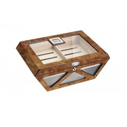 Glass humidor Prisma elm burl mat with lock - digital higro